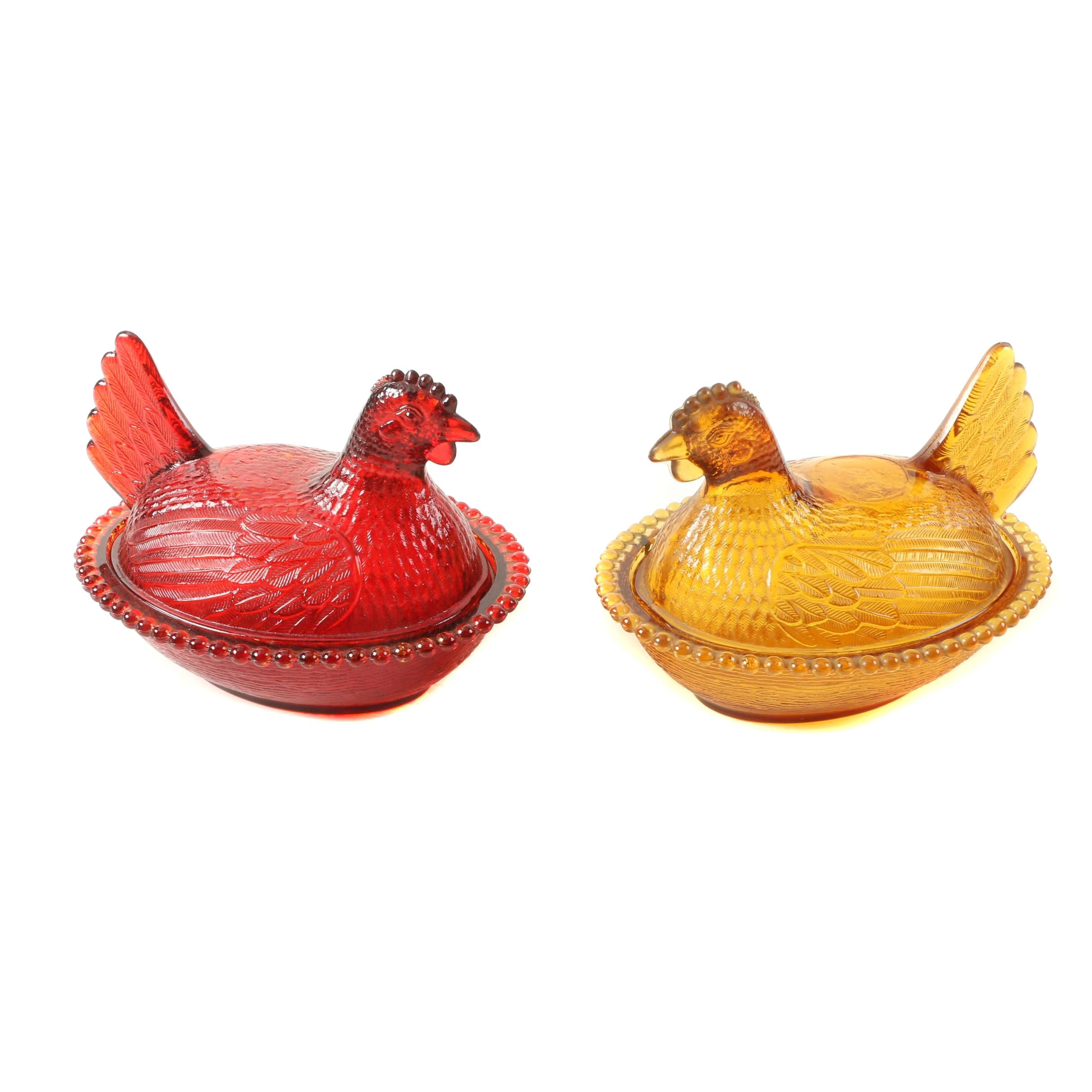 """Depression Glass """"Hen On Nest"""" Candy Dishes"""