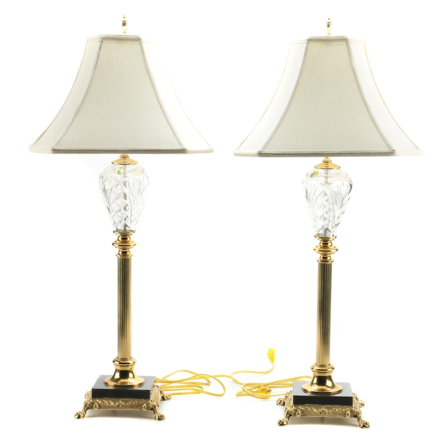 Waterford Crystal Quot Marlow Quot Buffet Lamps Ebth