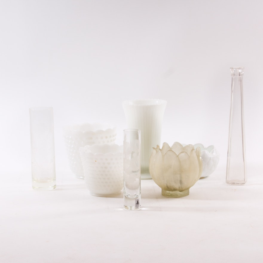 Assortment Of White And Clear Glass Vases Featuring Fire King Ware