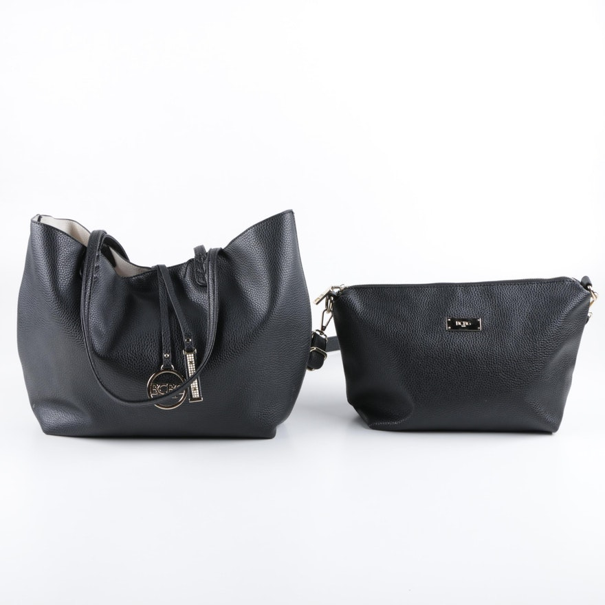 c7db730ea761 BCBG Black Leather Tote Bags   EBTH