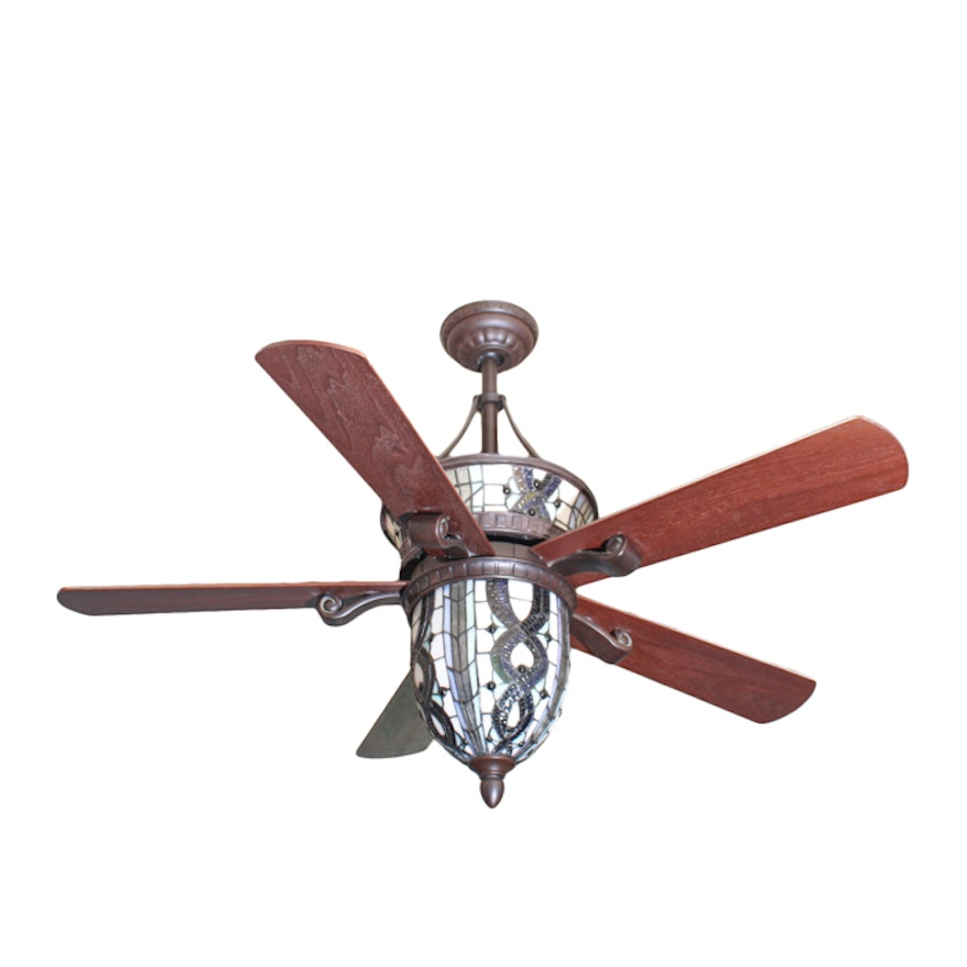 Bronze tone metal five blade ceiling fan with stained glass shade ebth bronze tone metal five blade ceiling fan with stained glass shade aloadofball Images
