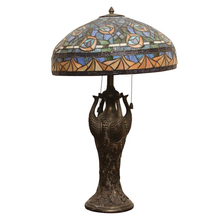 Tiffany Style Slag Glass Peacock Table Lamp Ebth
