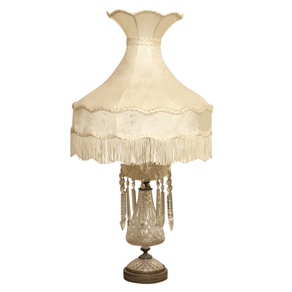 Victorian Crystal Parlor Lamp with Crystal Prisms
