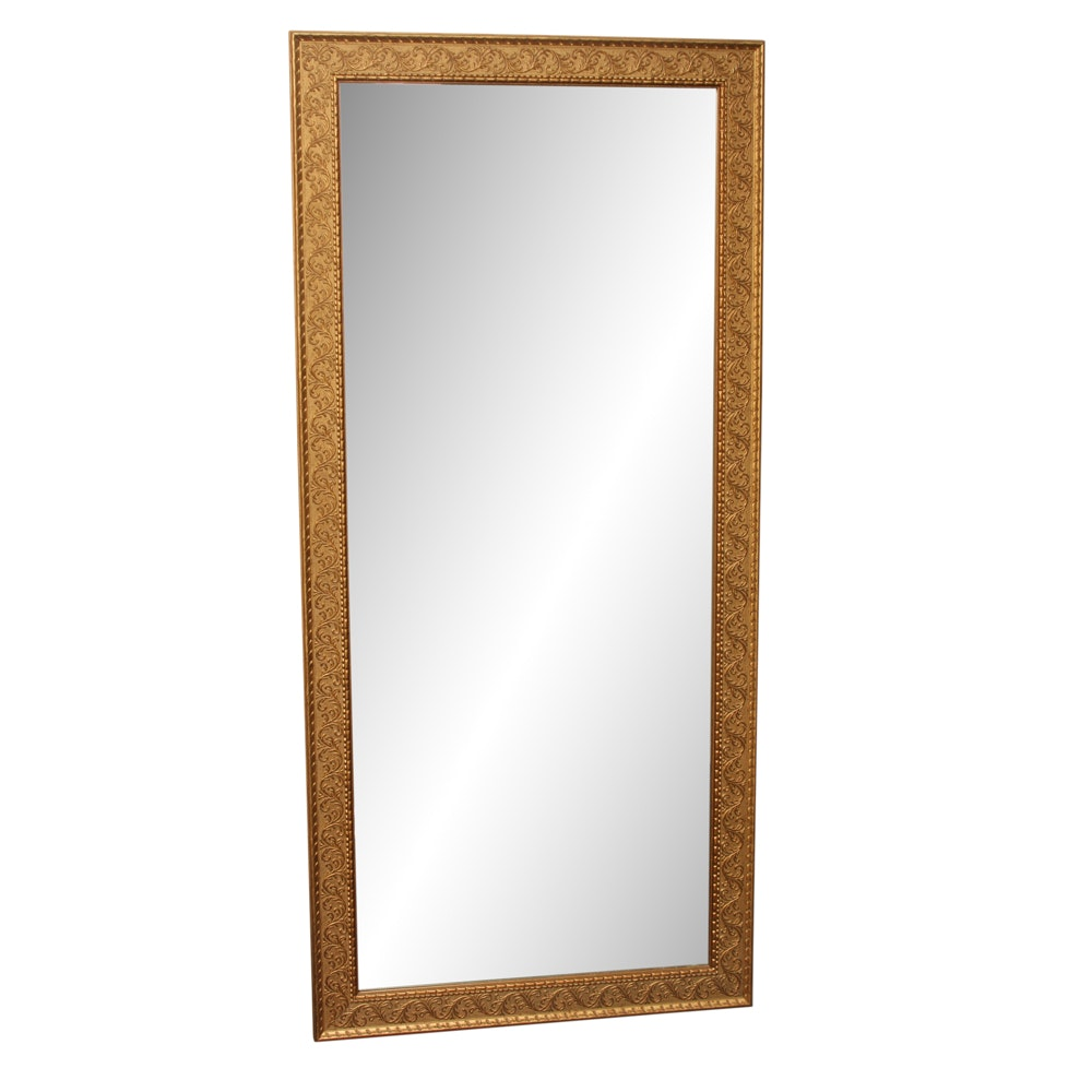 Large Wood Framed Wall Mirror with Scrolled Motif