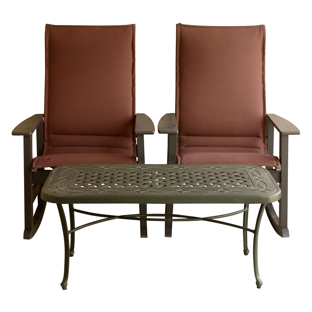 Telescope Casual Furniture Patio Rocking Chairs with Table