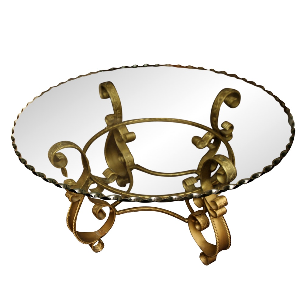 Glass Top Gold Scroll Base Coffee Table