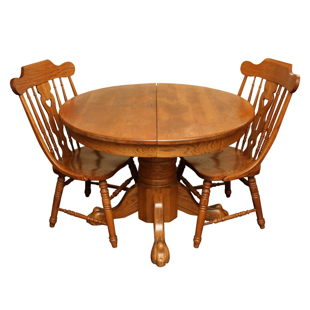 Vintage Claw Foot Dining Table with Windsor Style Chairs