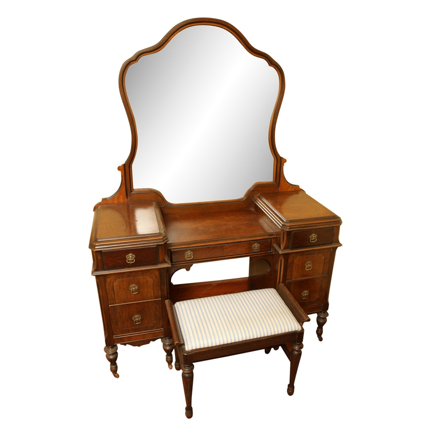 Peachy Vintage Jacobean Revival Style Walnut Vanity With Mirror And Stool Gamerscity Chair Design For Home Gamerscityorg