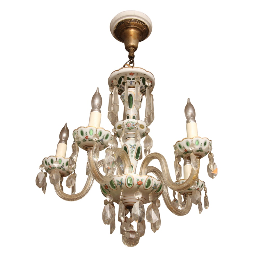 Bohemian Cased Glass Chandelier