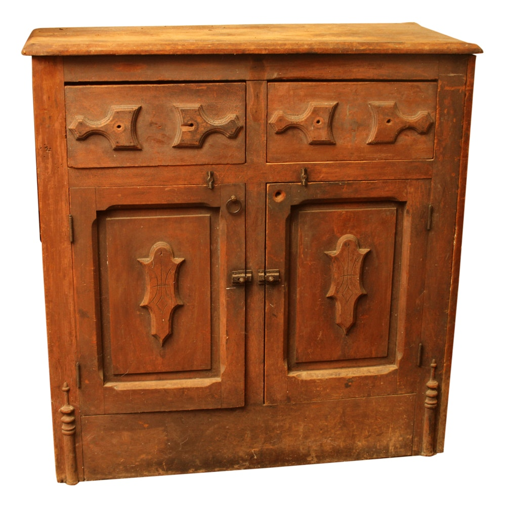 Antique Southern Poplar Low Cabinet