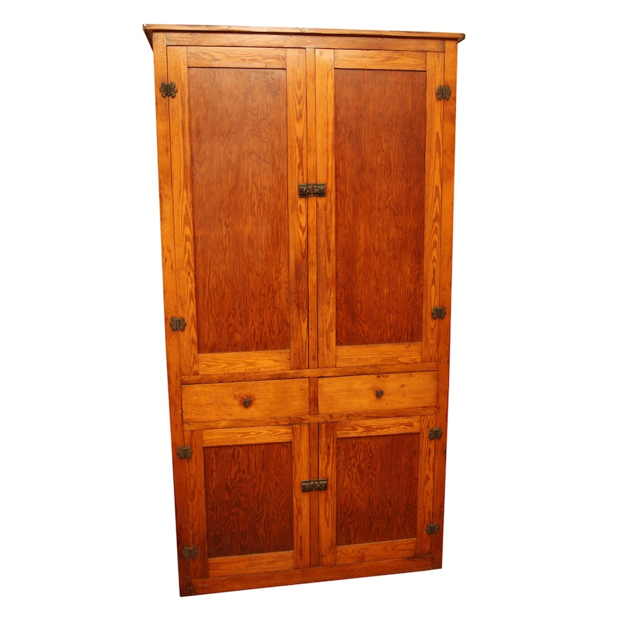 Antique Southern Pine Kitchen Cupboard ... - Antique Southern Pine Kitchen Cupboard : EBTH