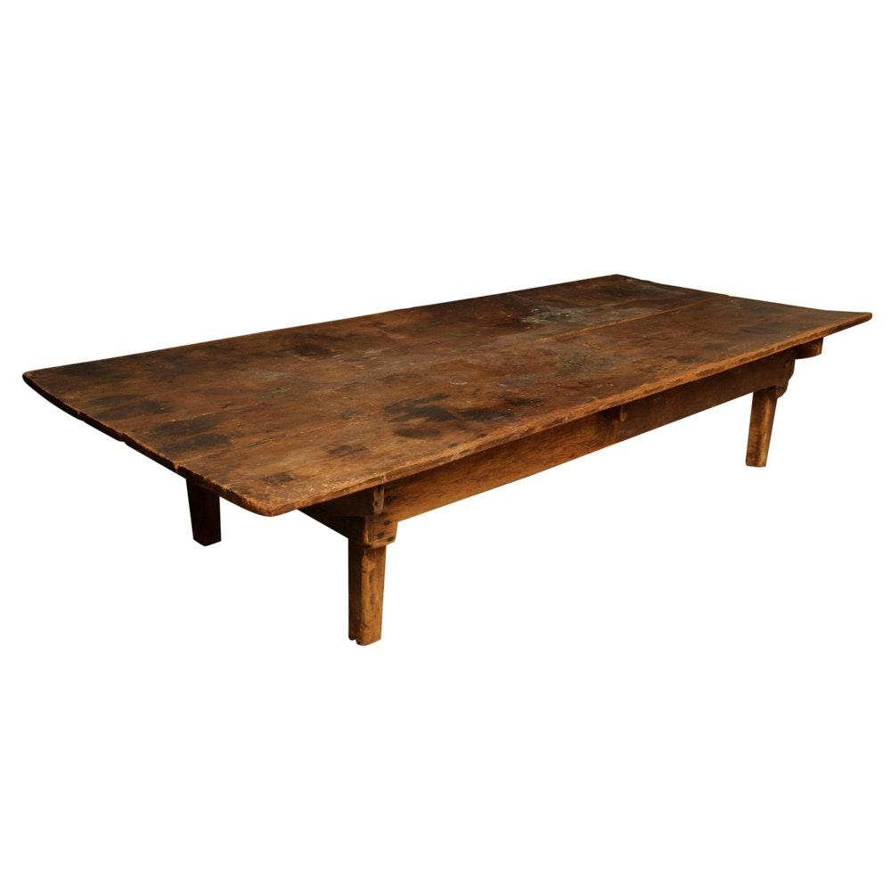 Antique Rustic Farmhouse Pine Coffee Table