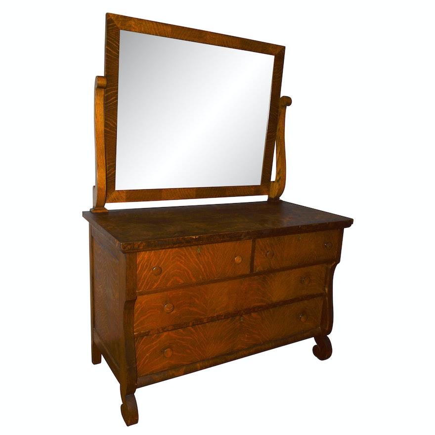 Antique Quarter Sawn Oak American Empire Dresser And Mirror