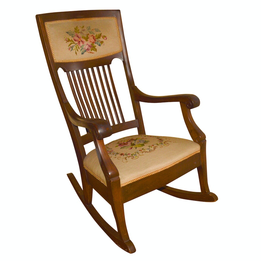 Antique Mission Style Rocking Chair With Needlepoint Upholstery ... - Antique Mission Style Rocking Chair With Needlepoint Upholstery : EBTH