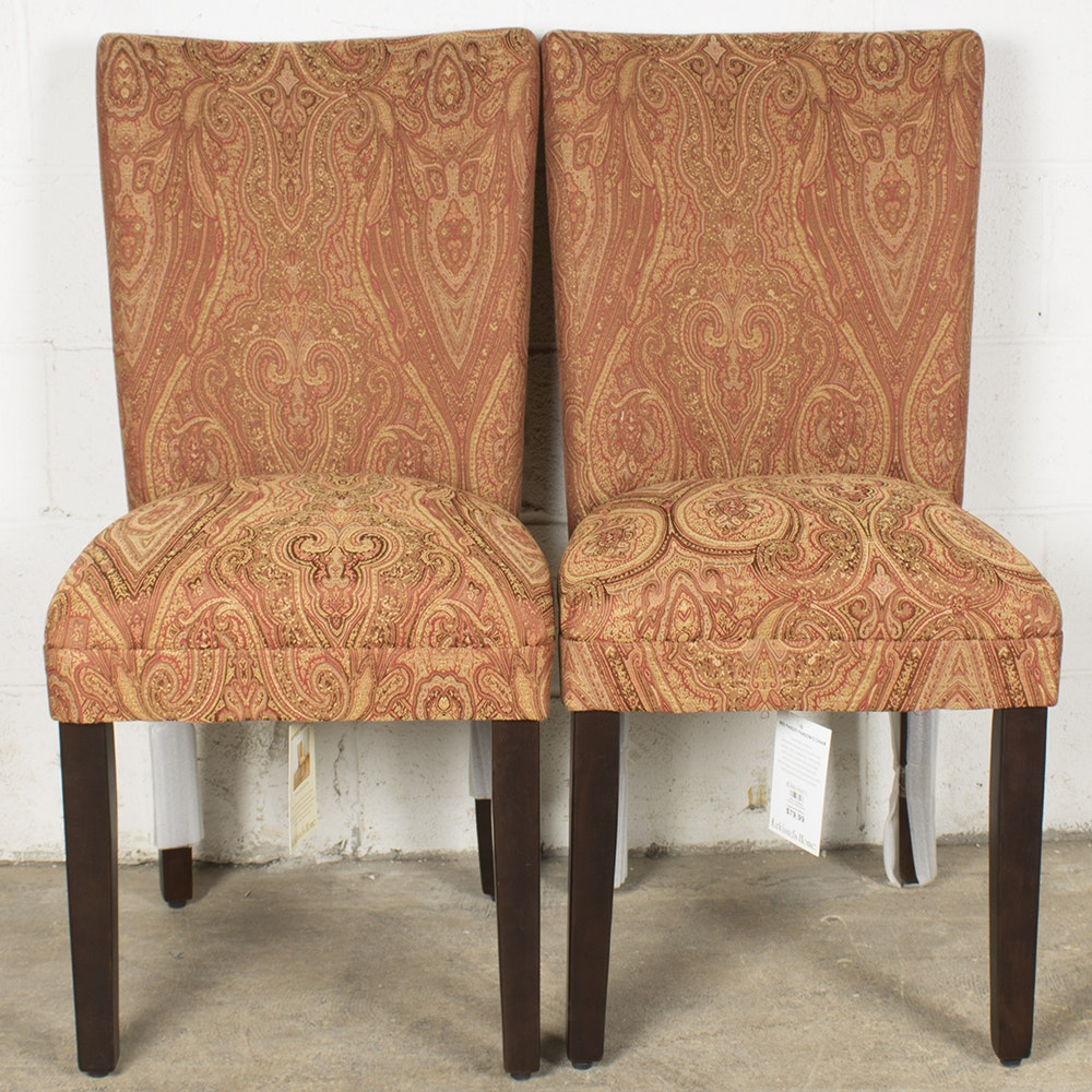 Red Paisley Upholstered Parsons Chairs by Kirklandu0027s ... & Red Paisley Upholstered Parsons Chairs by Kirklandu0027s Home : EBTH