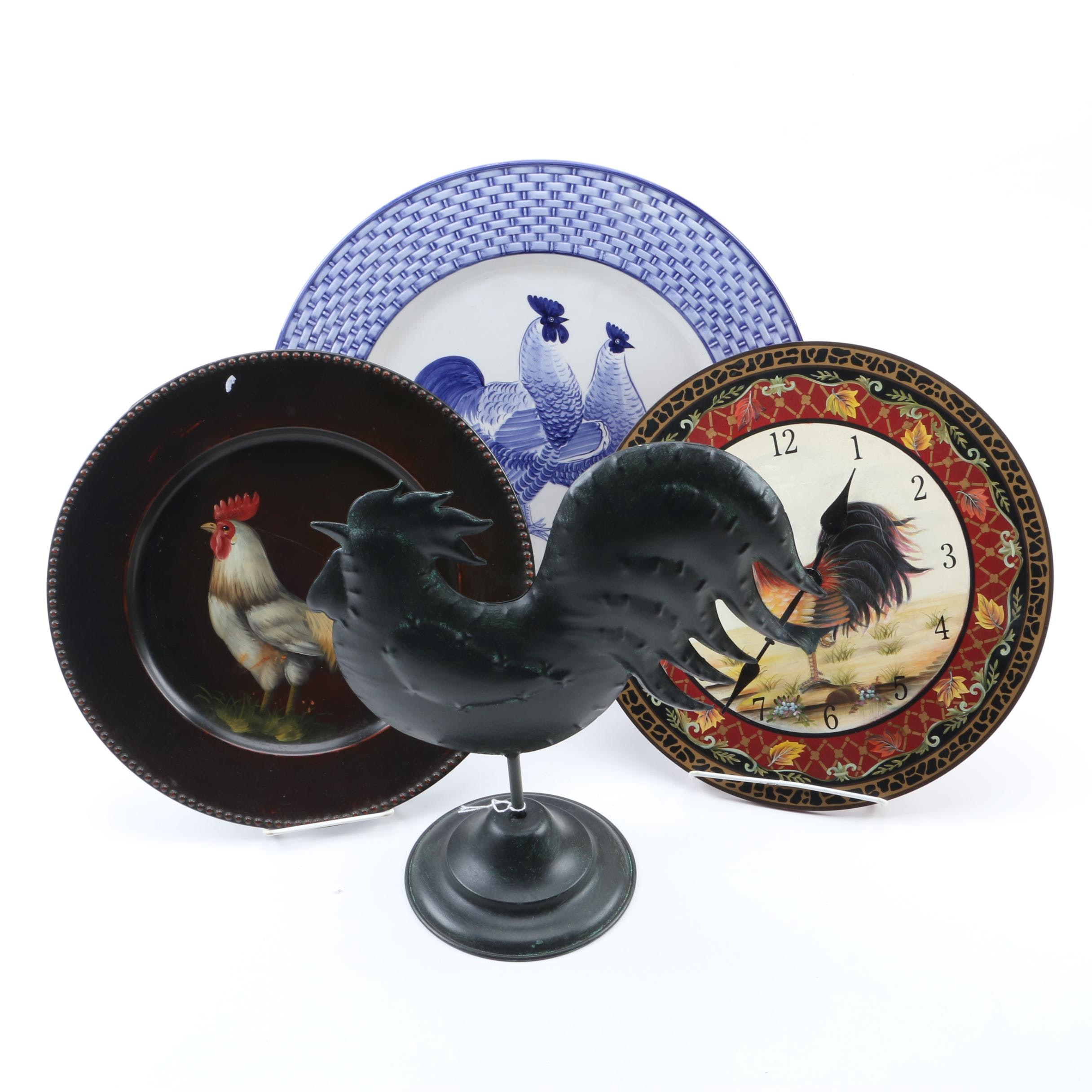 """Hand-Painted """"Seymour Mann"""" Rooster Serving Dish, Metal Sculpture and Others"""