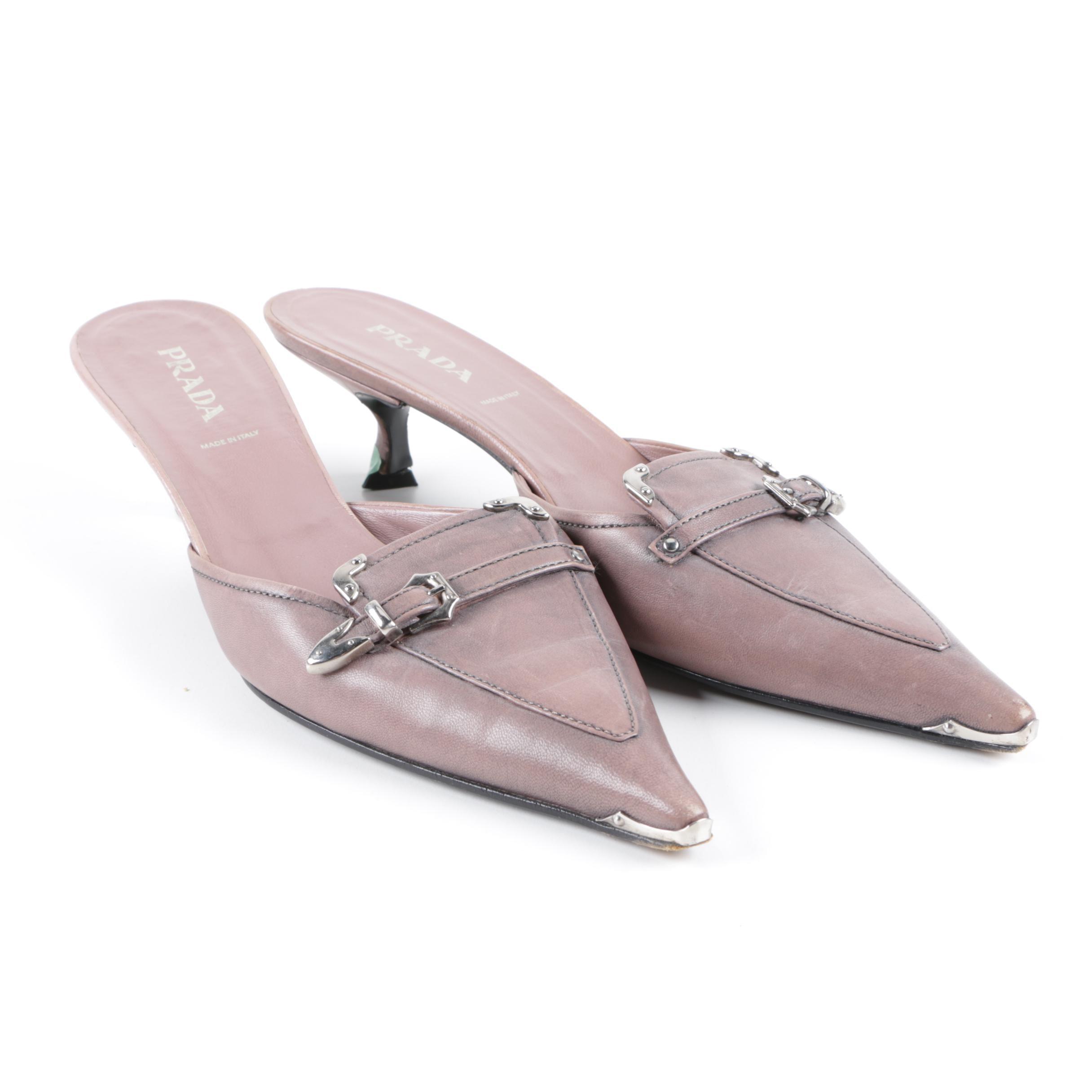 Women's Prada Mauve Kitten Heel Mules