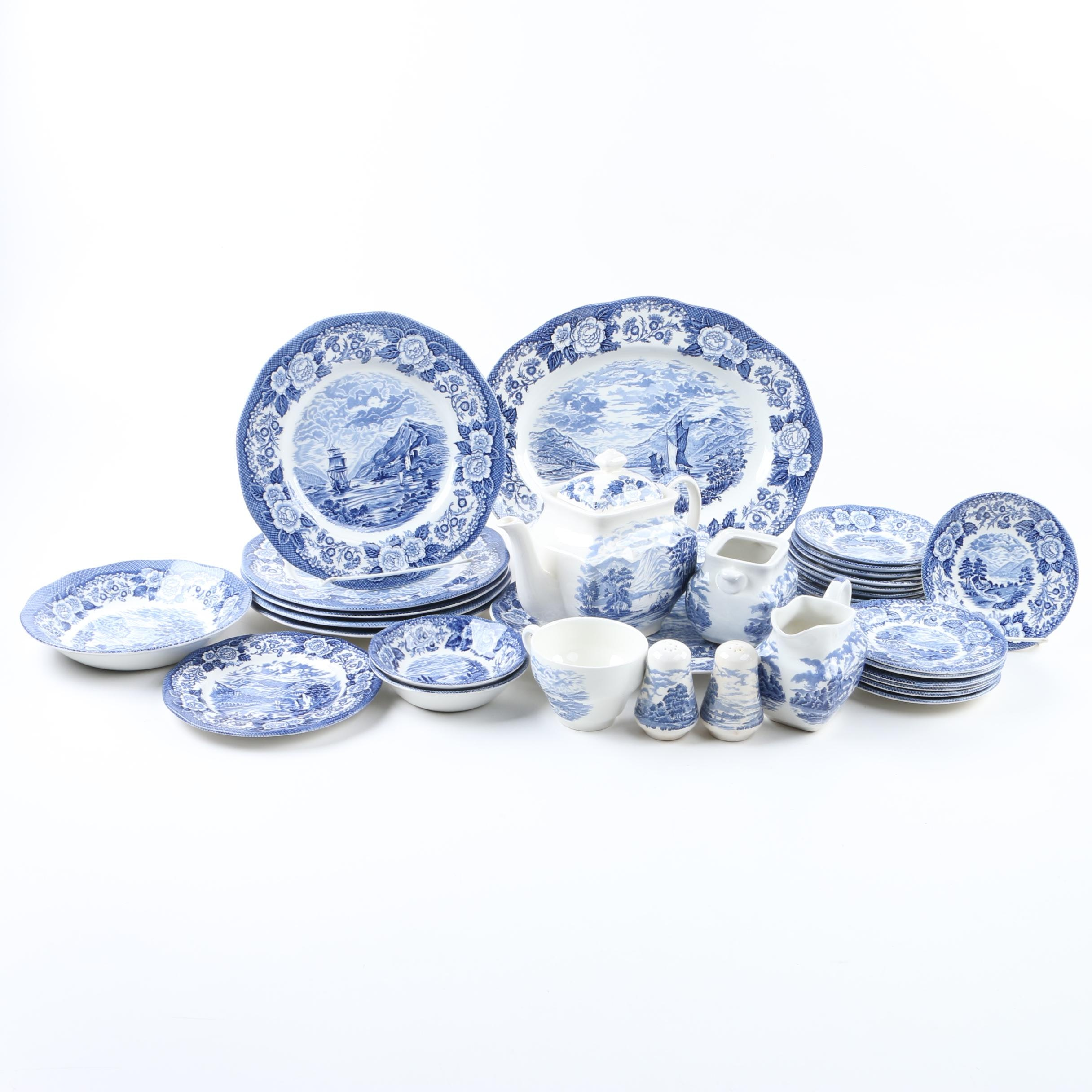 "Royal Warwick ""Lochs of Scotland"" Blue and White Tableware"