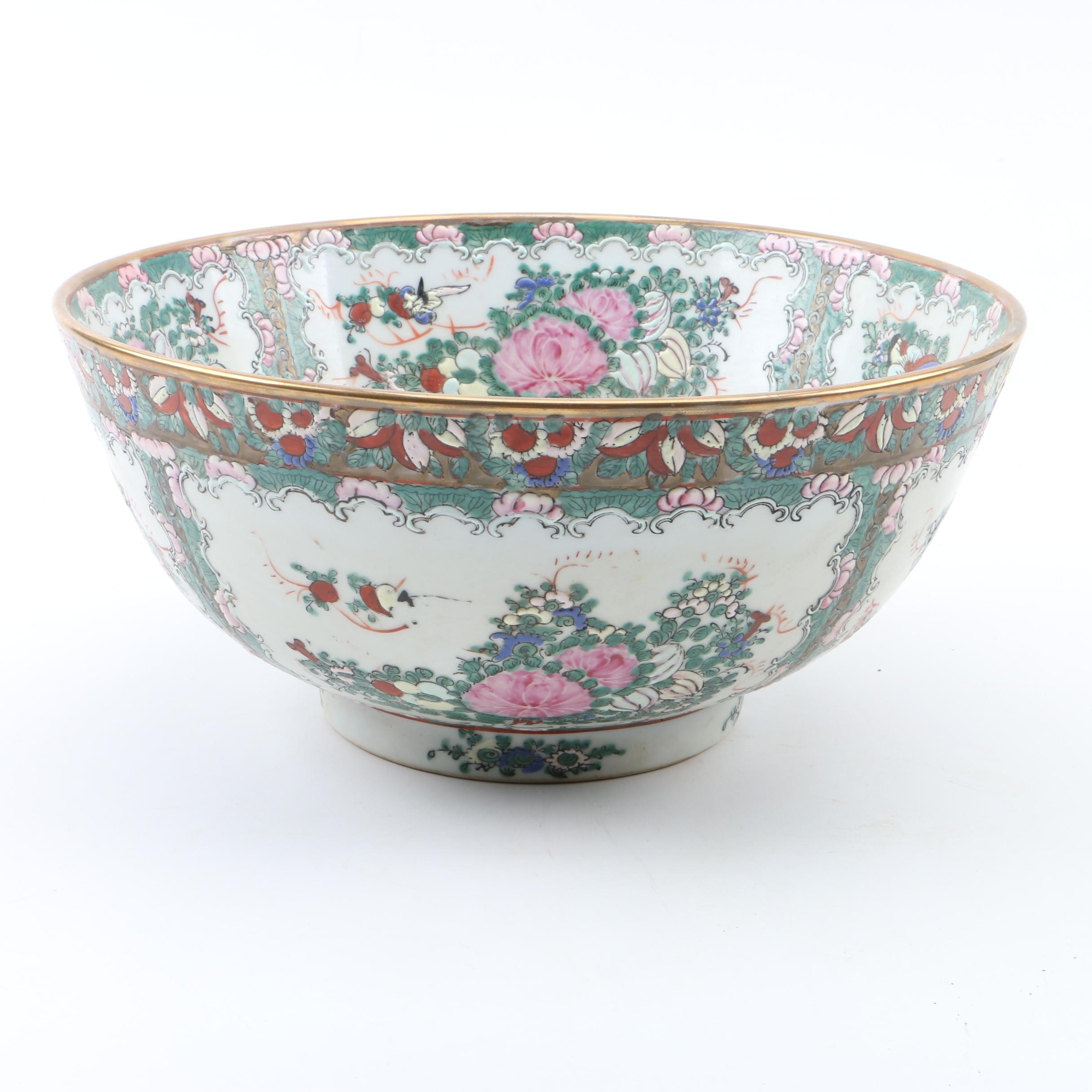 Chinese Rose Canton Porcelain Bowl by Andrea by Sadek
