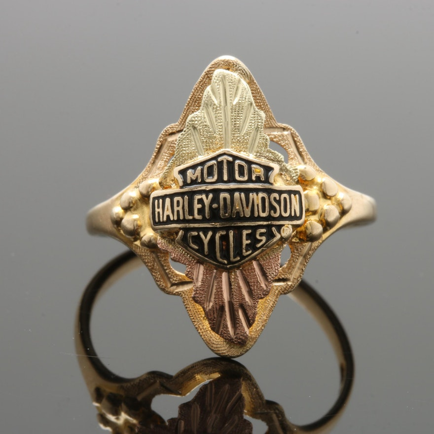 28fd9bb532f36 10K Tri-Color Gold Harley Davidson Ring