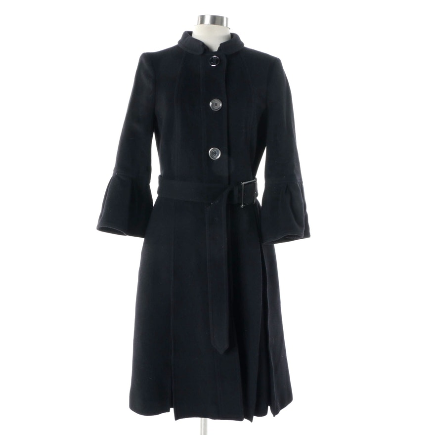f706f0901ddd Women s Burberry London Black Pleated Wool Blend Coat   EBTH