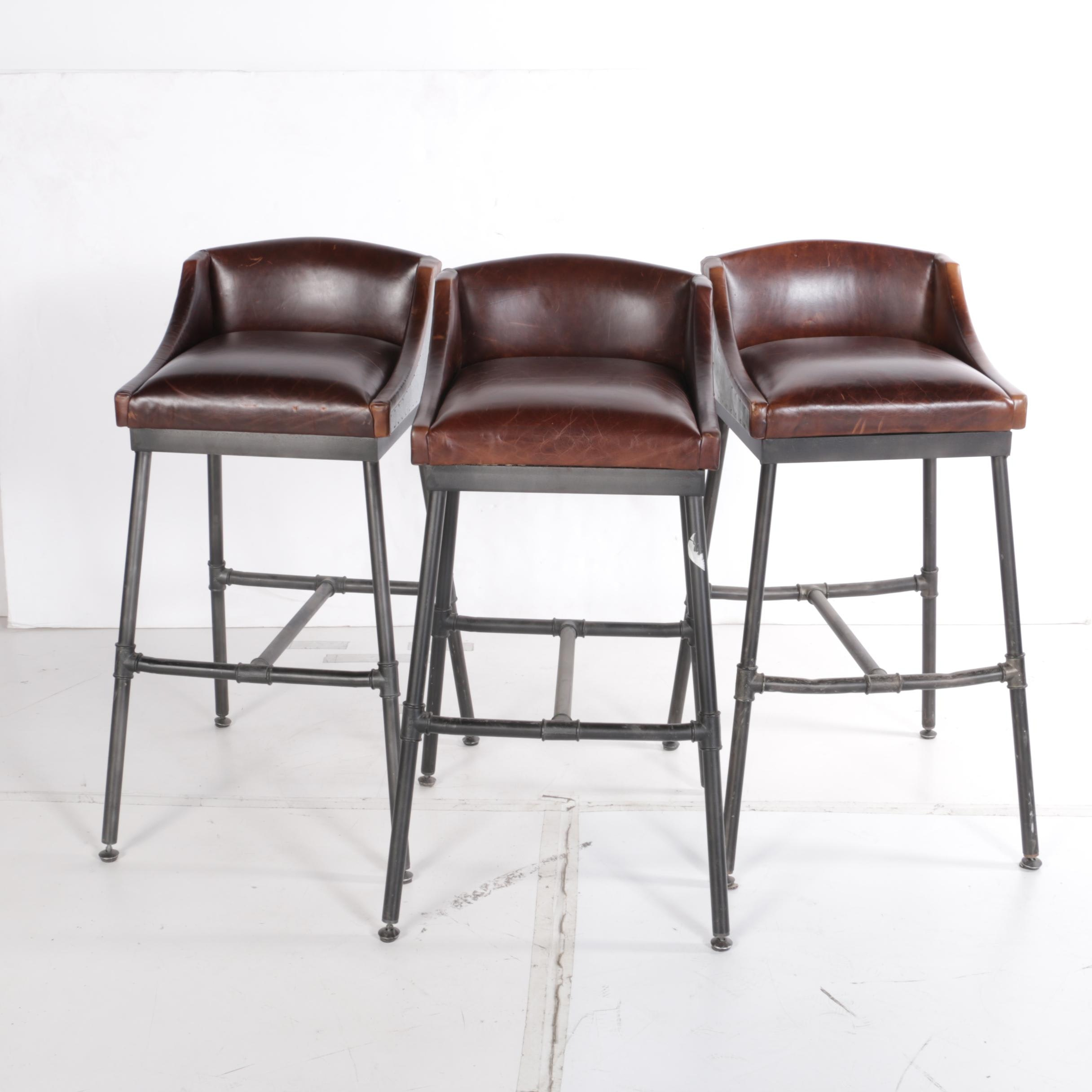 Contemporary Leather Upholstered Barstools