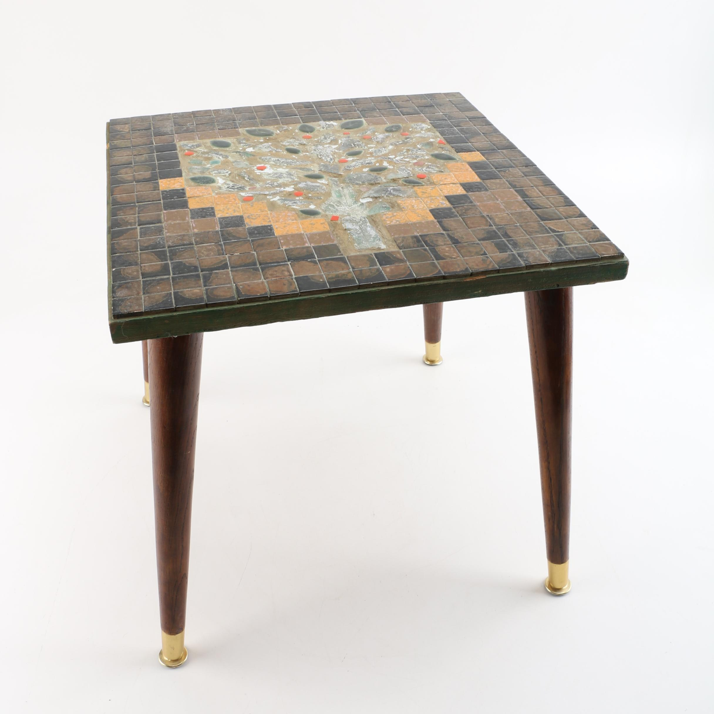 "Vintage ""Tree of Life"" Tile Top Table"