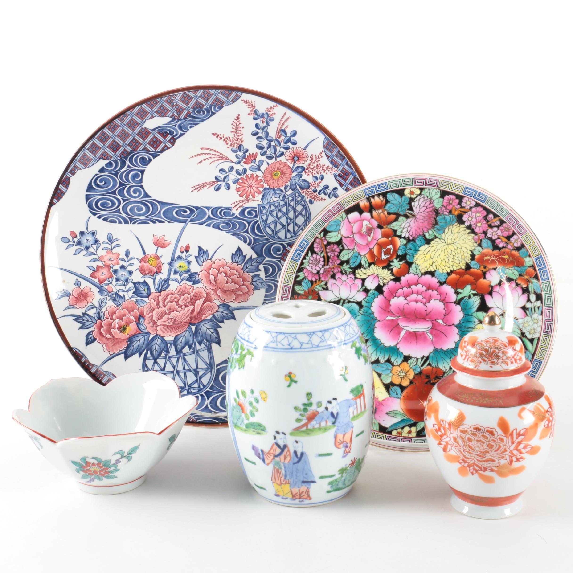 Chinese and Japanese Decorative Porcelain Including Ginger Jar