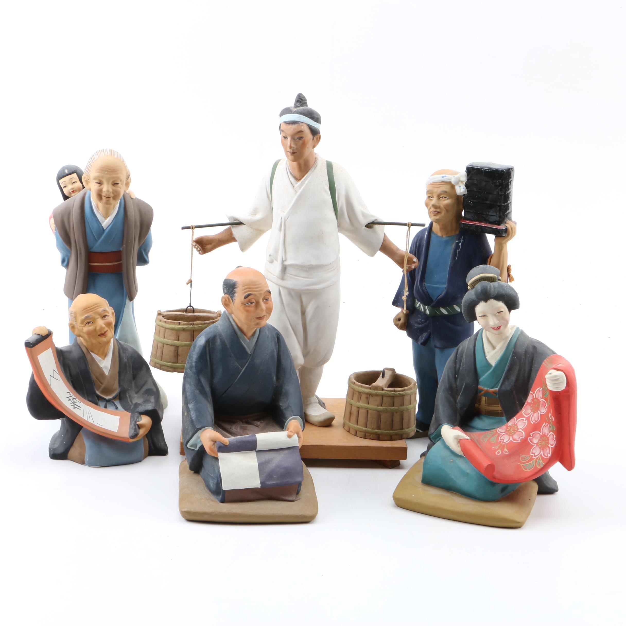 """Group of """"Hakata Urasaki"""" Dolls and More"""