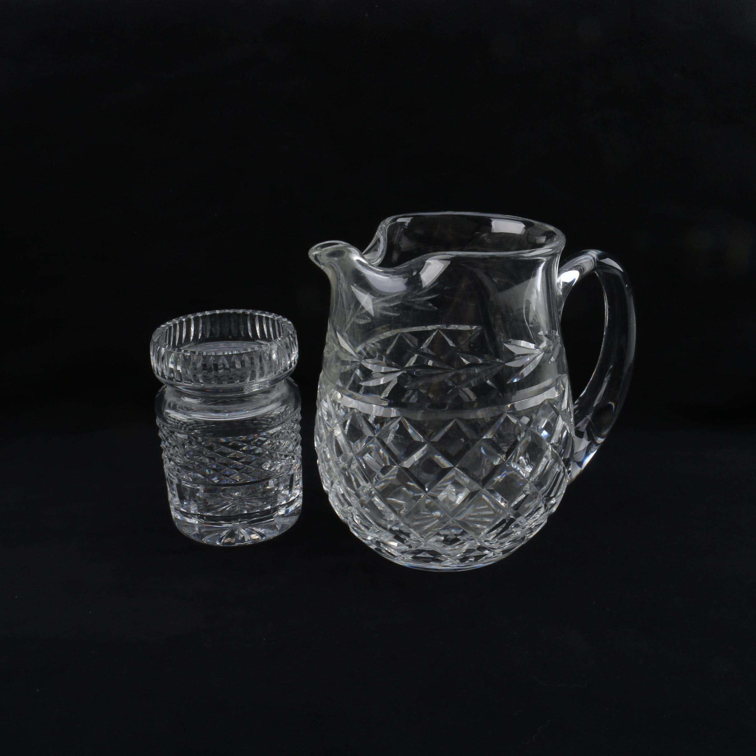 "Waterford Crystal ""Glandore"" Pitcher and Honey Jar"