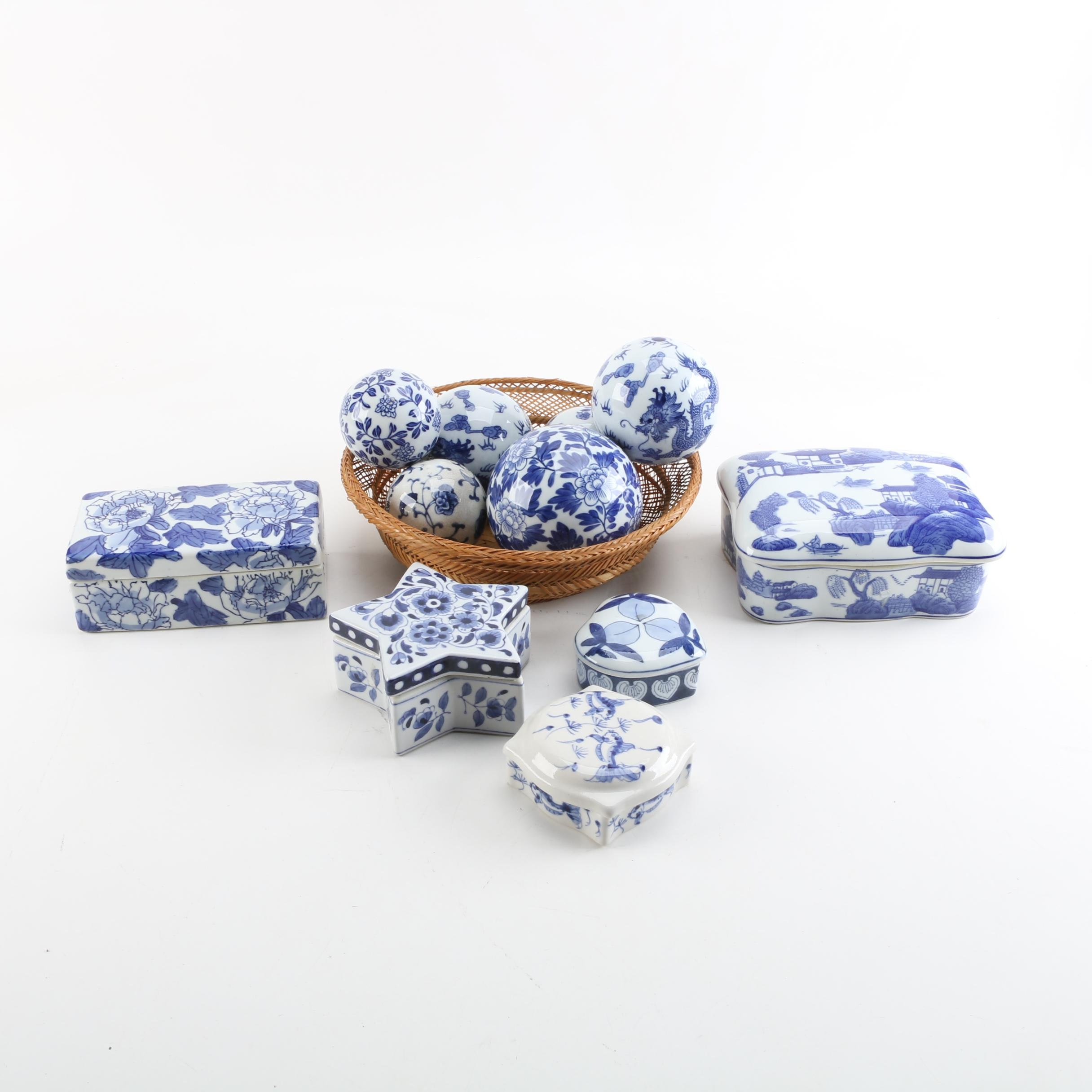 Blue and White Ceramic Trinket Boxes and Carpet Balls