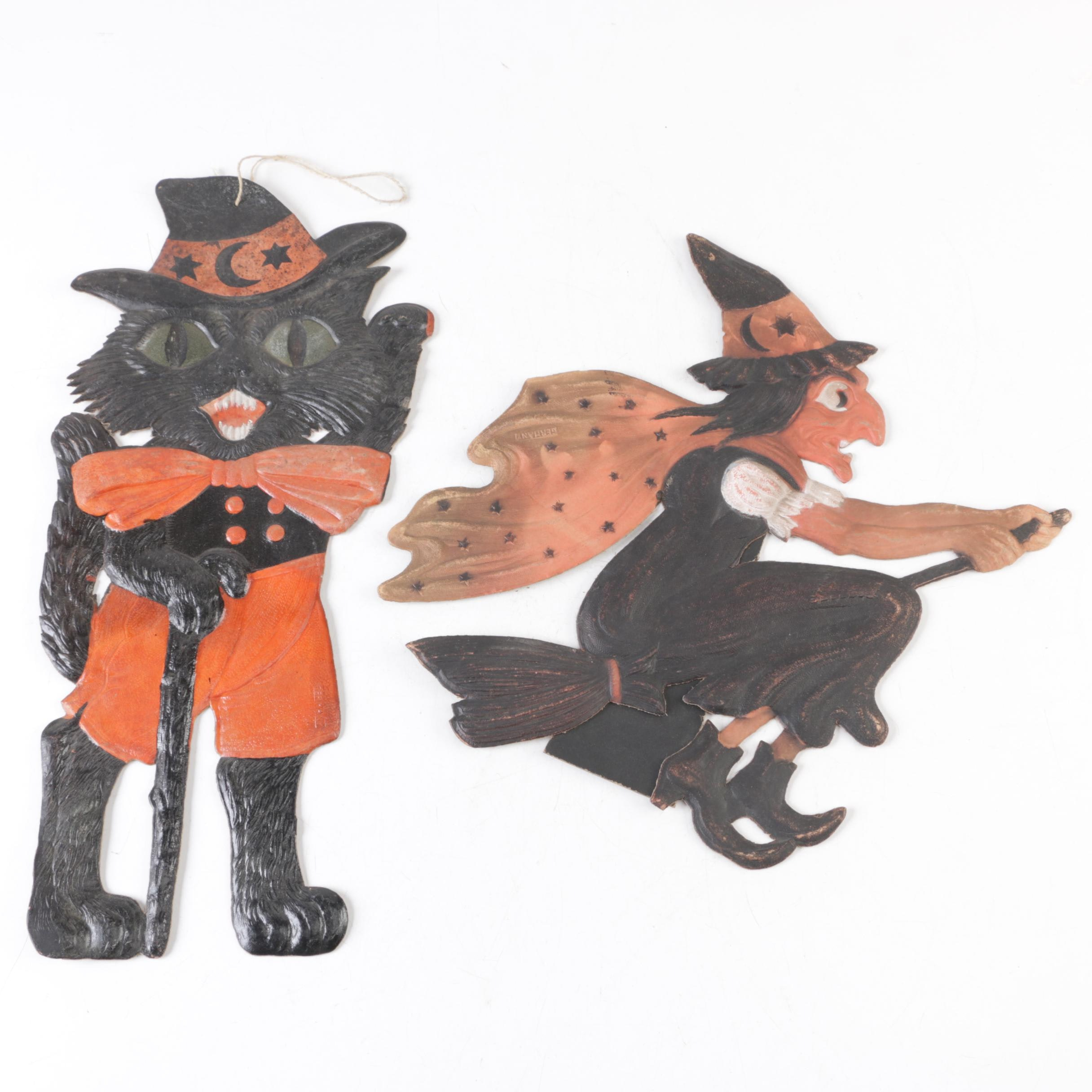 Halloween Black Cat and Witch Wall Decor