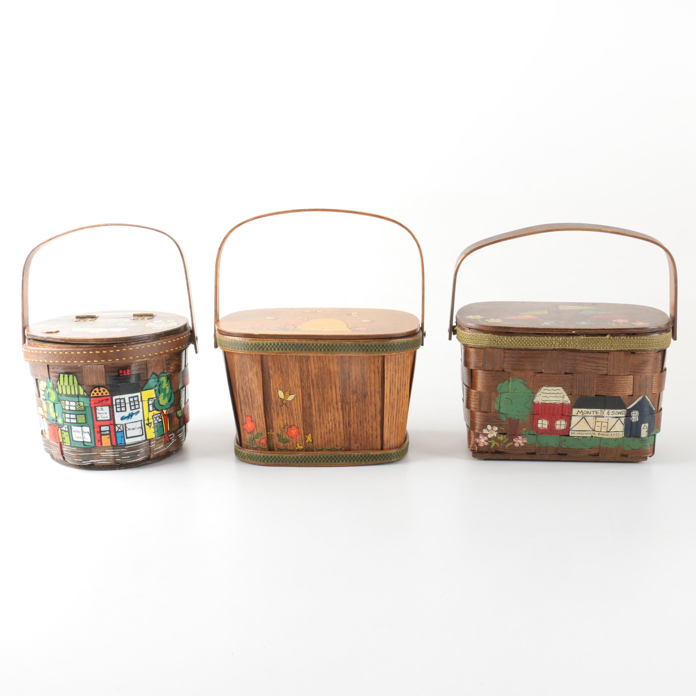 Decorative Wooden Handled Box Purses