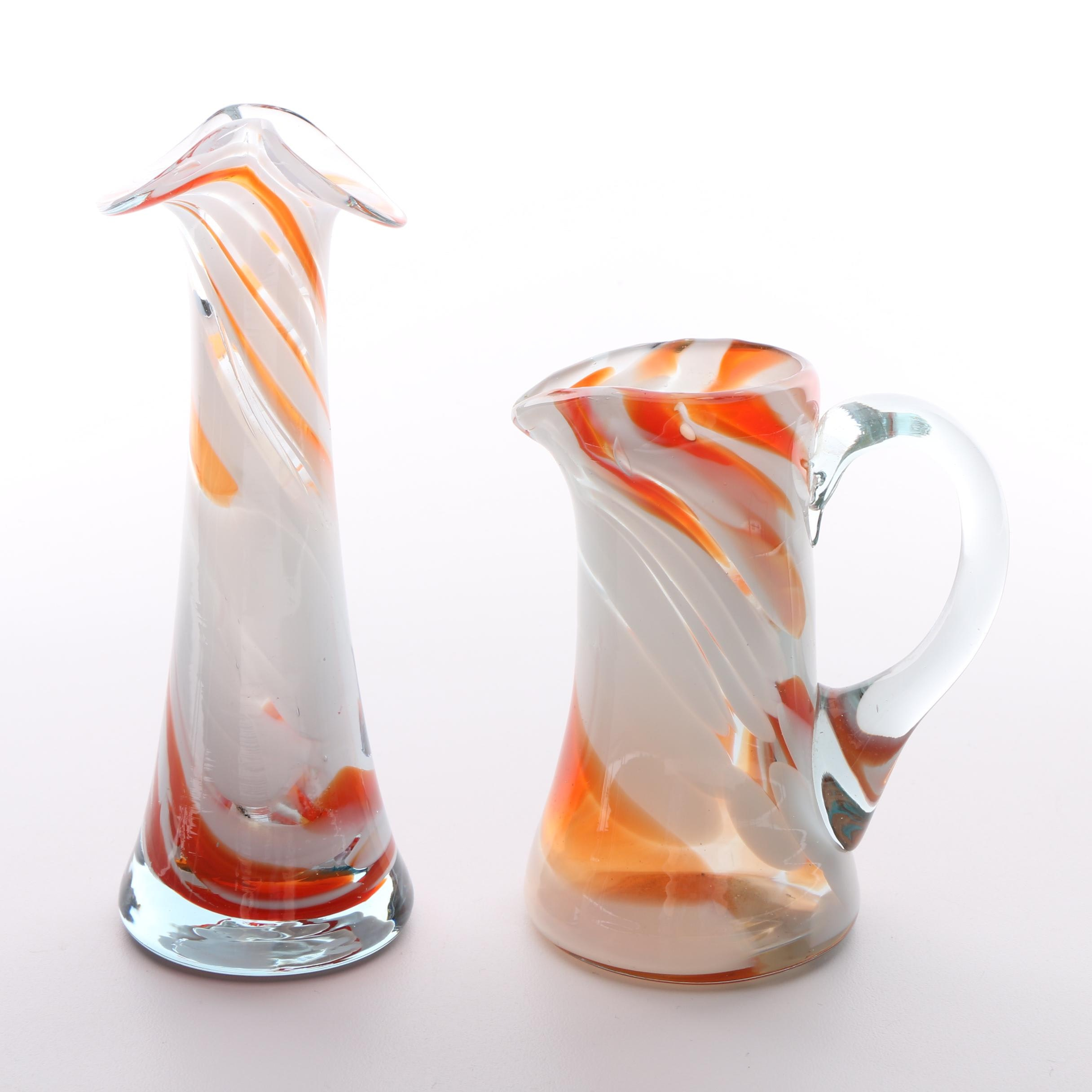 Murano Style Blown Glass Pitcher and Vase