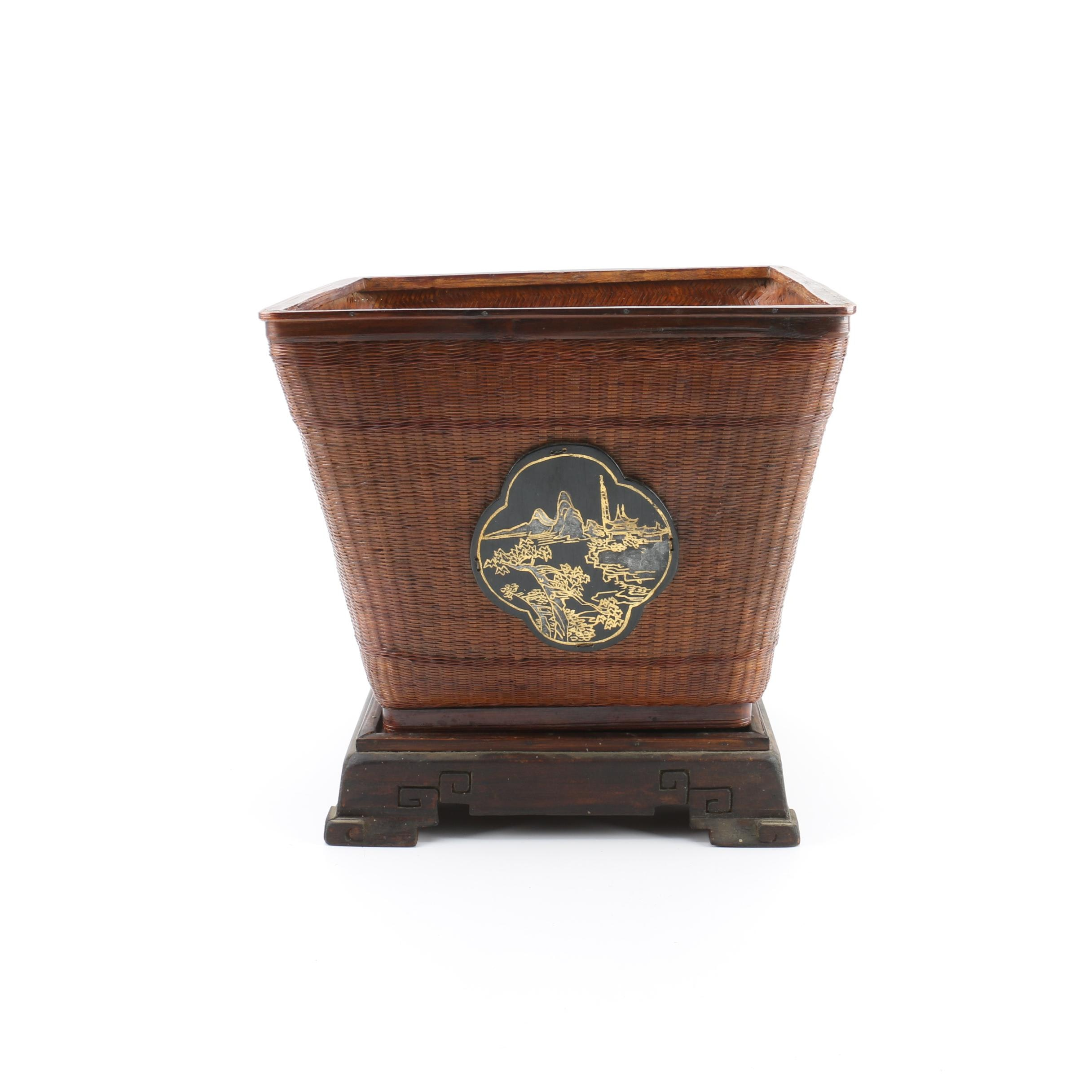 Handwoven Chinese Square Basket with Hand-Painted Lacquer Medallion and Stand