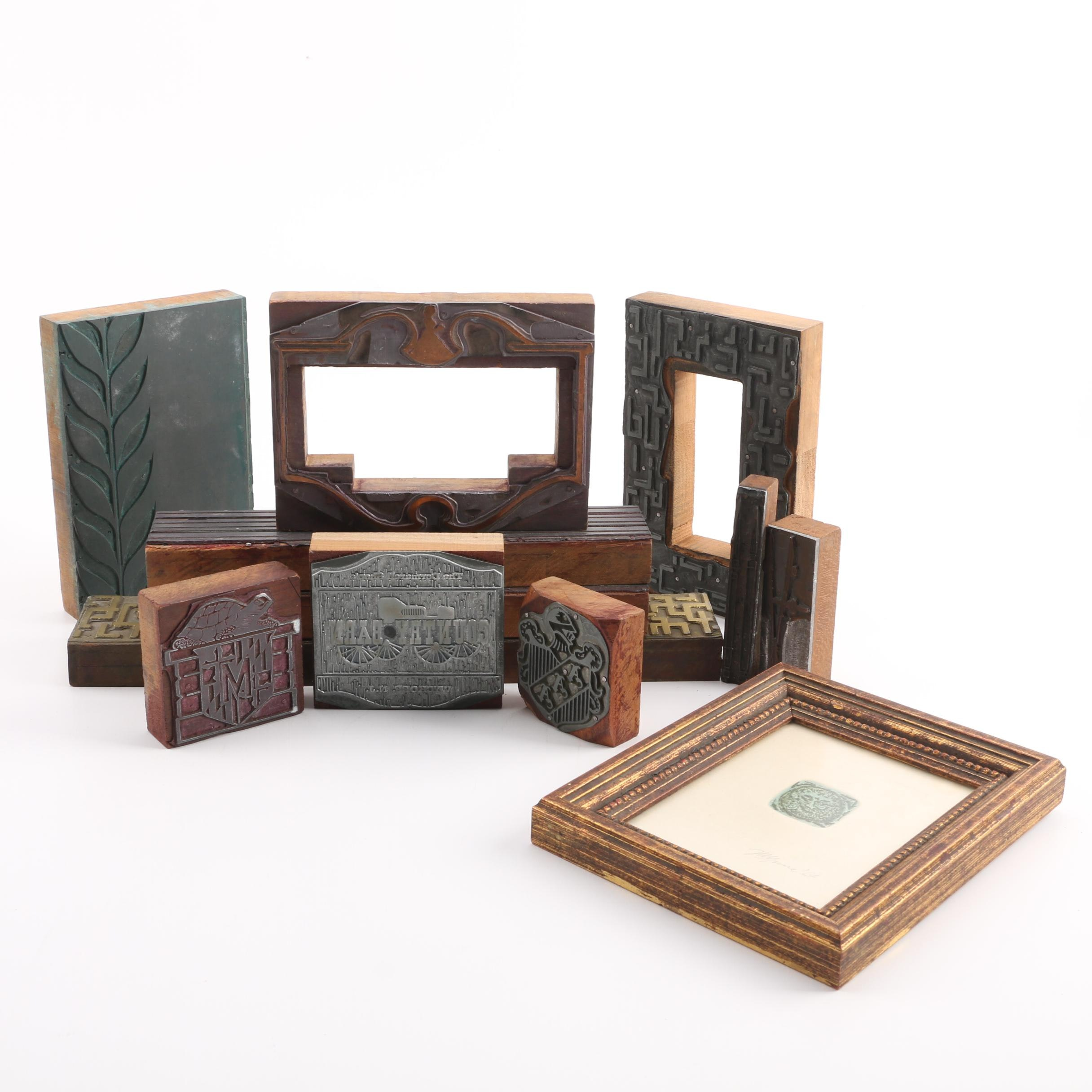 VIntage Printer's Blocks and a Picture Frame