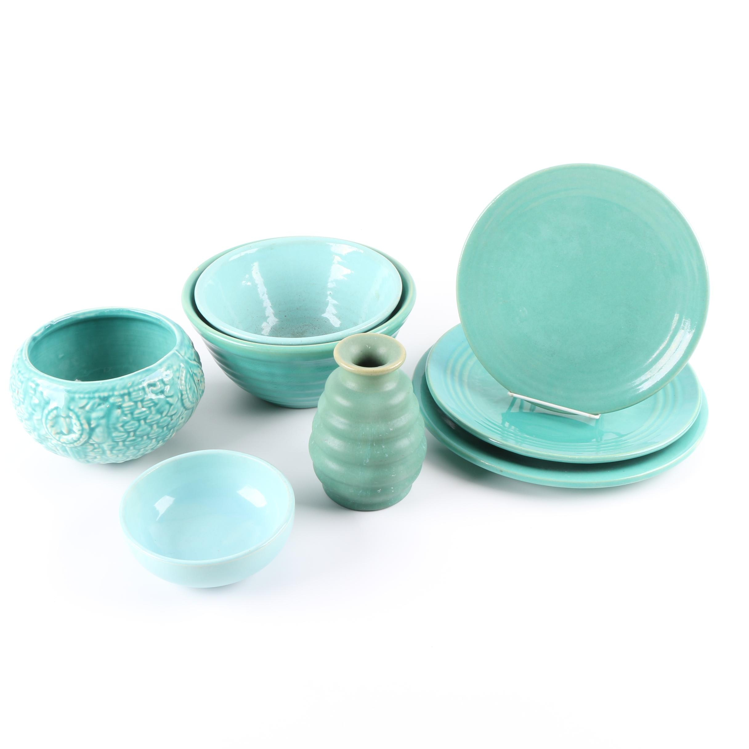 Turquoise Pottery Mixing Bowls and Tableware Including Bauer and McCoy