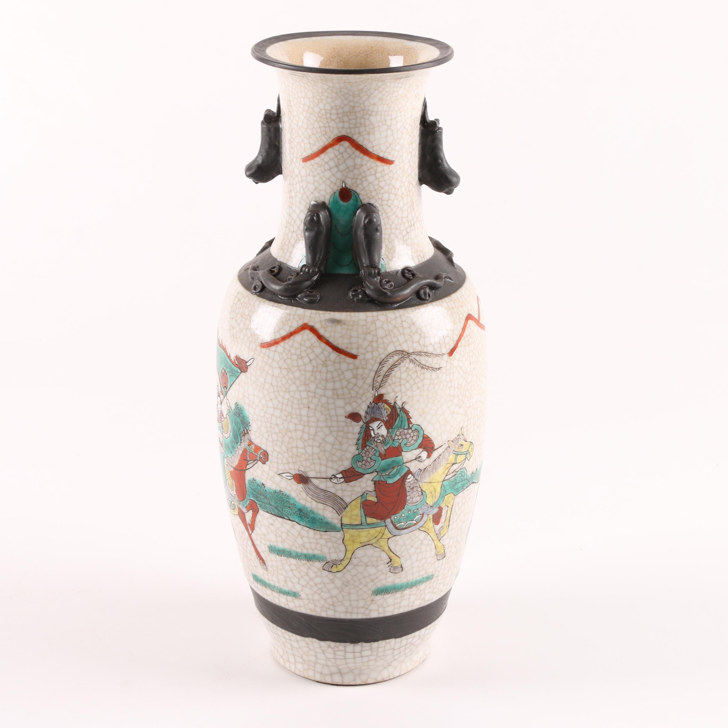Chinese Ceramic Vase with Figural Battle Scene