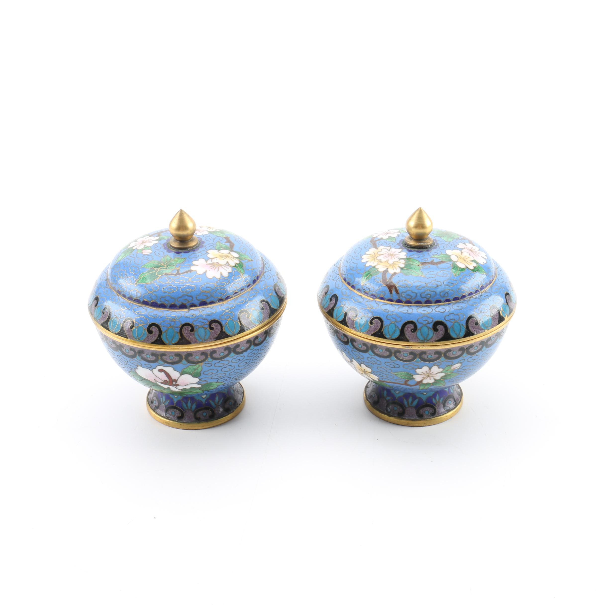 Chinese Cloisonné Lidded Jars