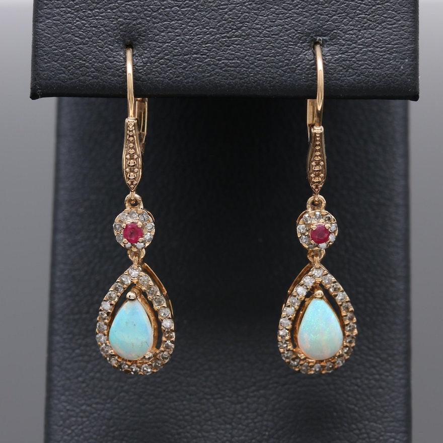 14k Yellow Gold Opal Ruby And Diamond Teardrop Earrings