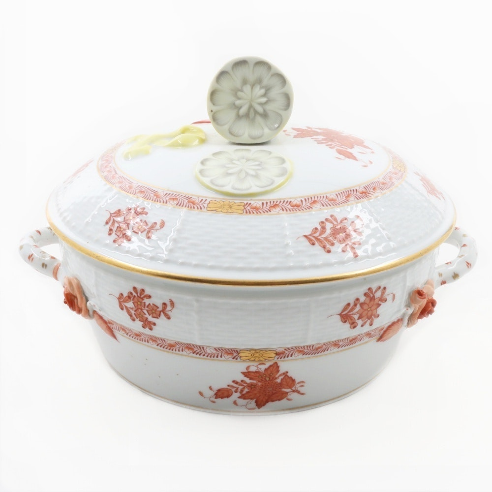 """Herend Hungary Porcelain """"Chinese Bouquet, Rust"""" Large Covered Vegetable Tureen"""