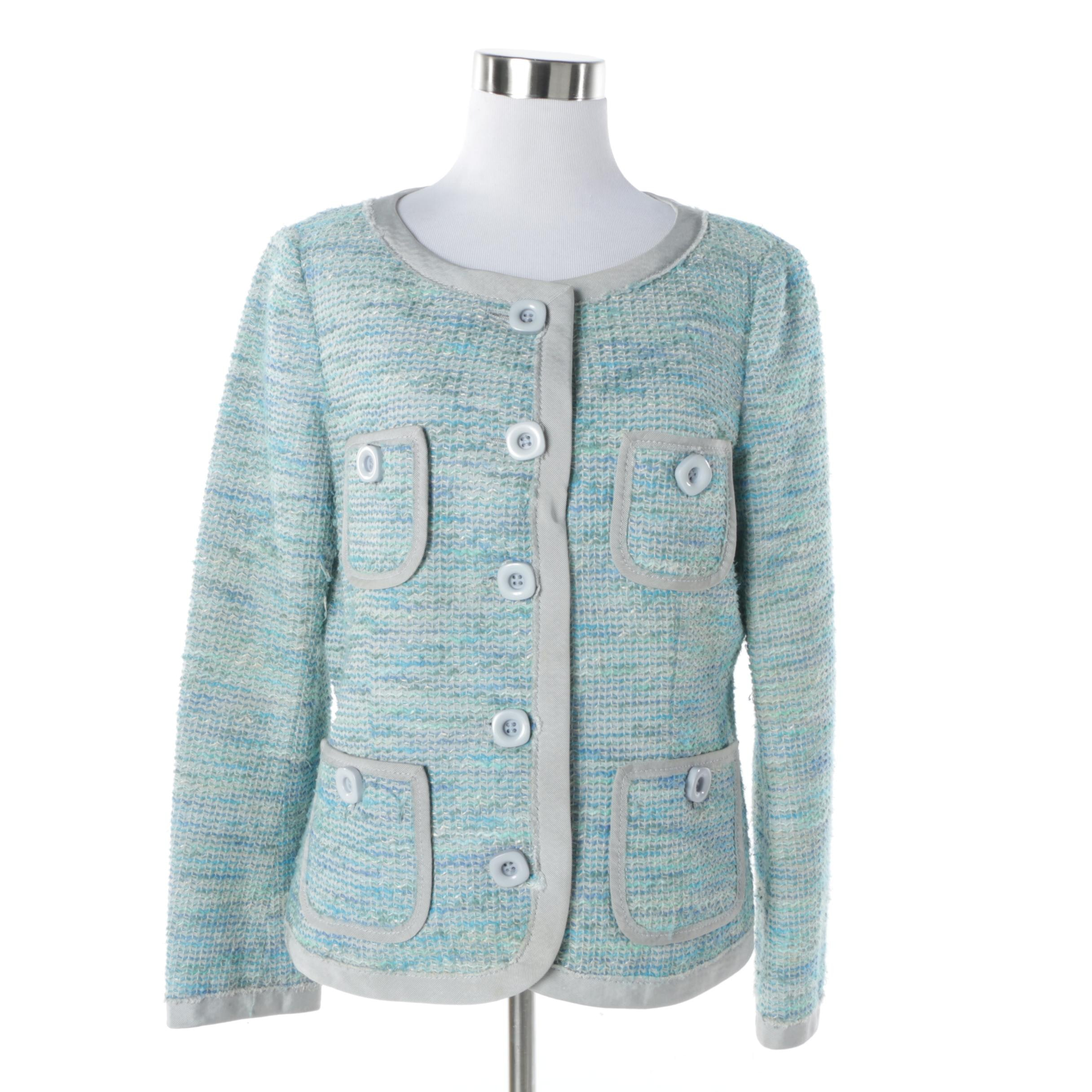 Moschino Cheap and Chic Aqua Tweed Jacket, Made in Italy