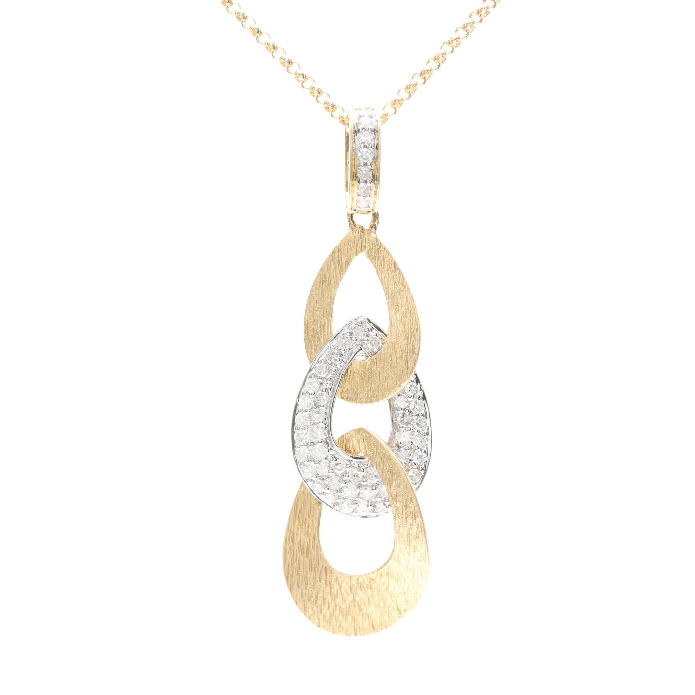 14K Yellow Gold Diamond Pendant Necklace With White Gold Accents : EBTH