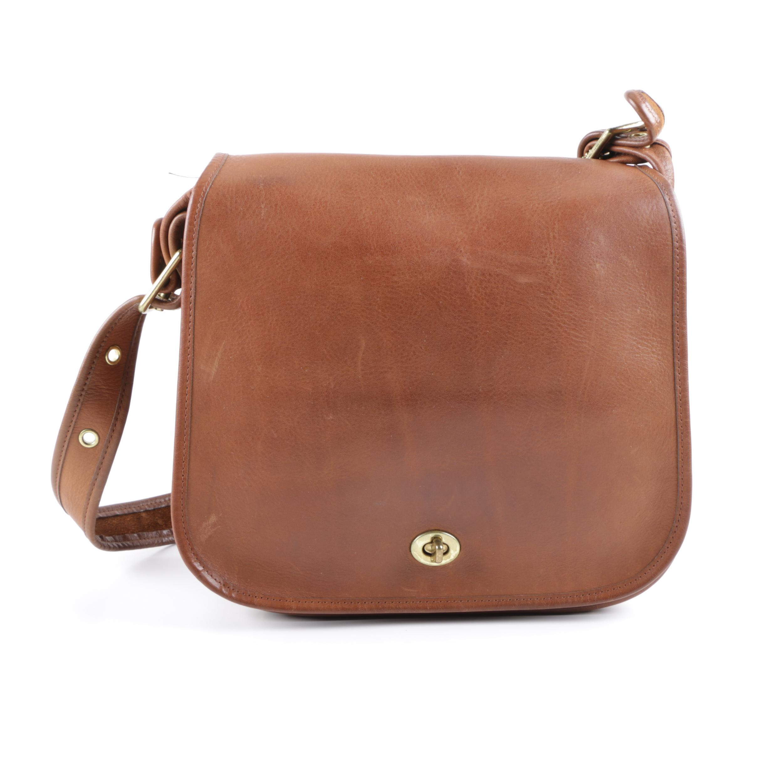 Vintage Coach New York City Stewardess Brown Leather Shoulder Bag