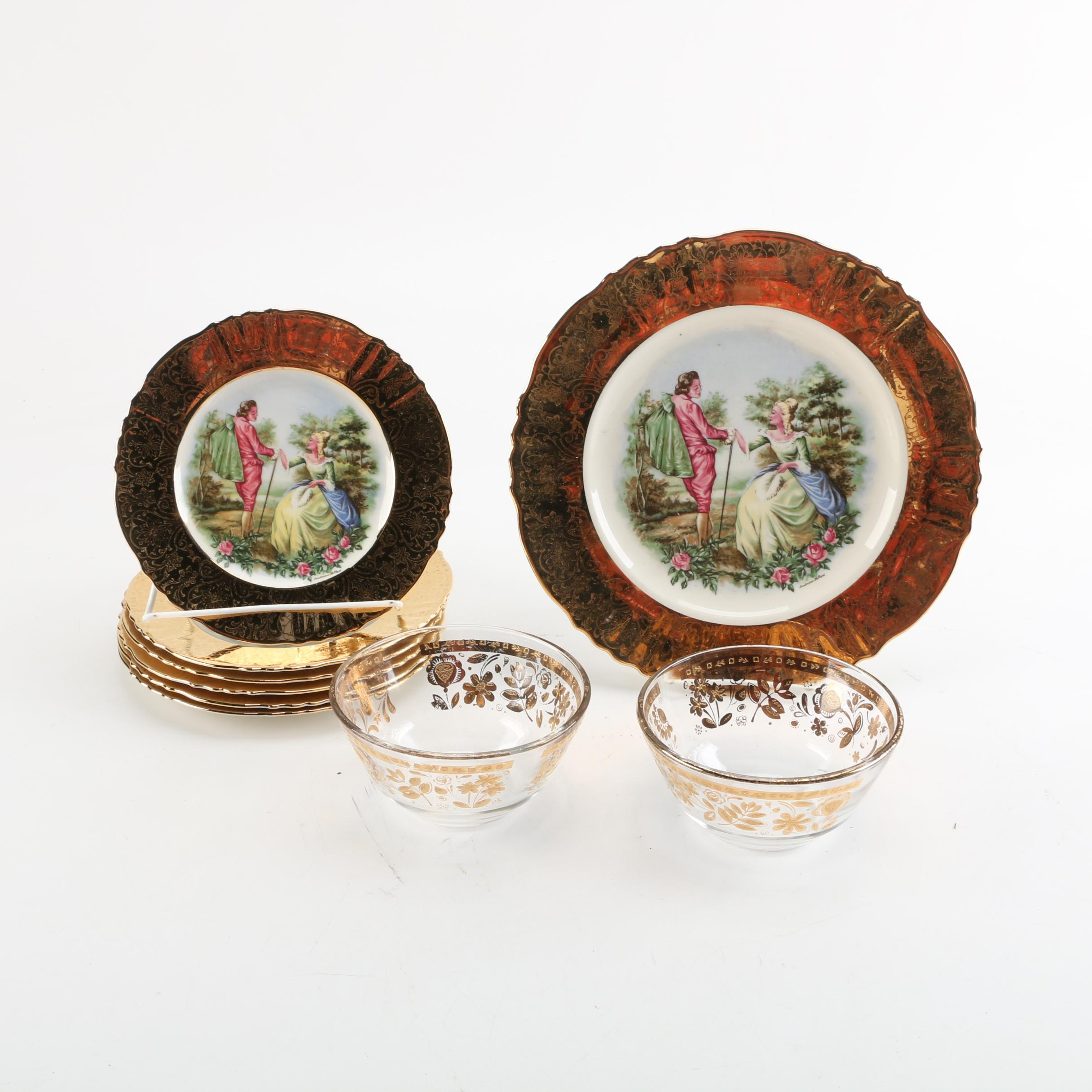 Vintage Atlas Fine China Romantic Scene Plates and Gold Leaf Glass Bowls