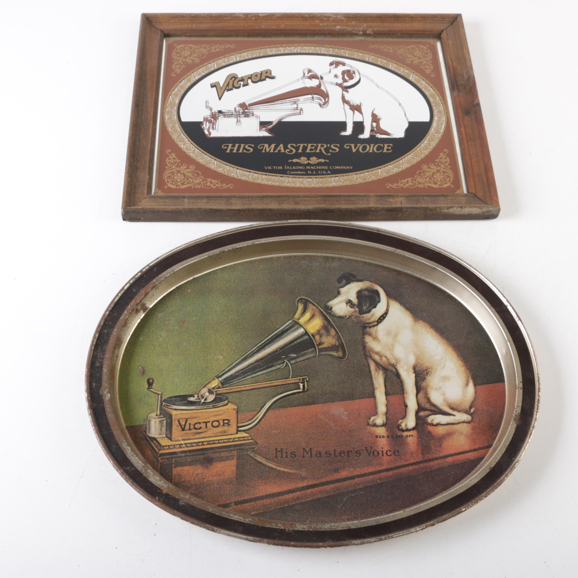 """Framed RCA Victor """"His Master's Voice"""" Wall Hanging with Metal Tray"""
