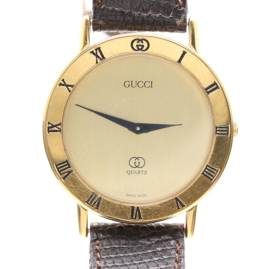 08b27df845f Gucci Gold-Plated Brown Leather Wristwatch   EBTH