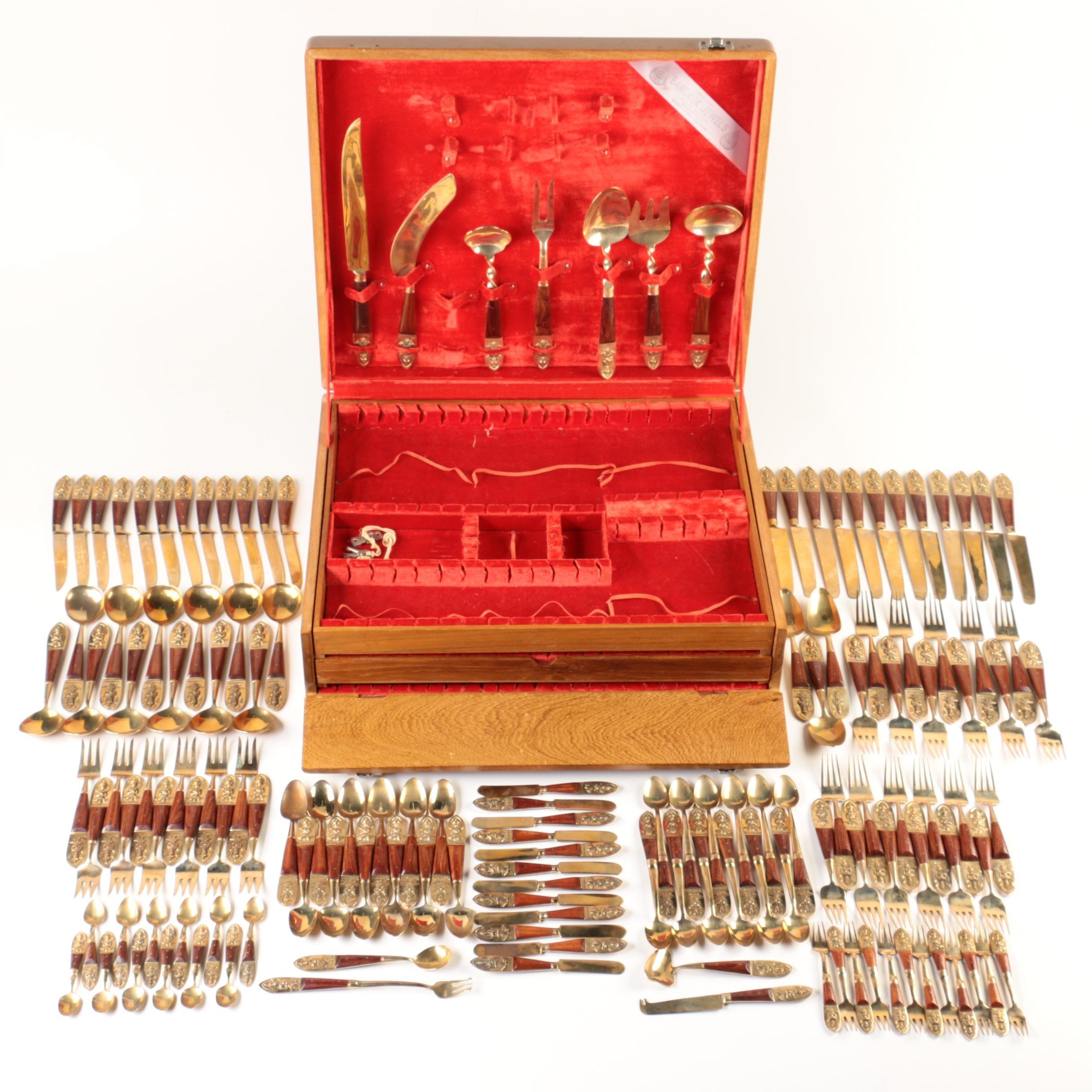 Thai Rosewood and Bronze Nickel Alloy Flatware Set