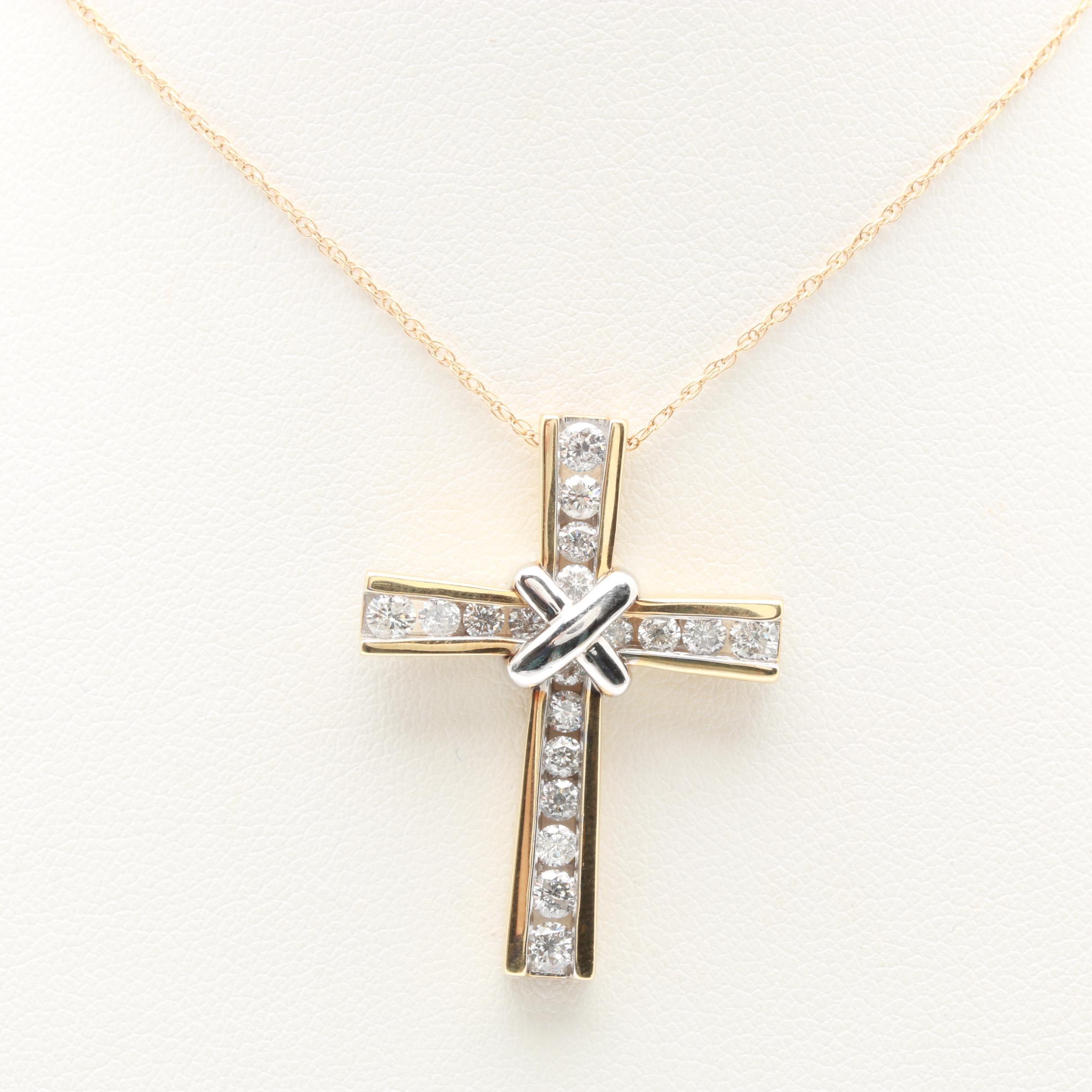 14K Yellow Gold 1.48 CTW Diamond Cross Pendant