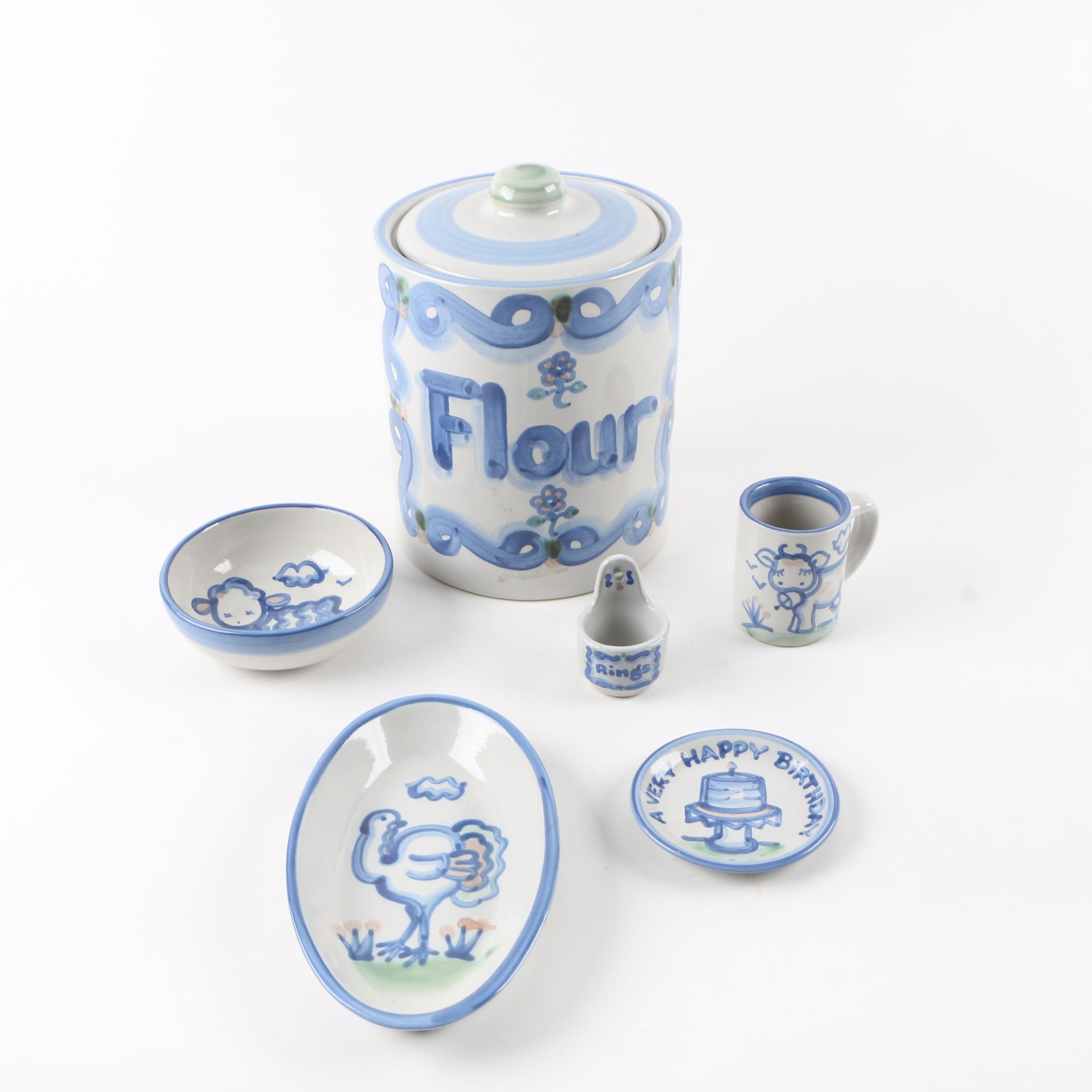 """M.A. Hadley """"Country Scene Blue"""" Stoneware Tableware and Kitchen Accessories"""